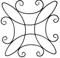 Розет кований 13.431(П). Матеріал: смуга 12х6 декор. Розміри: 800мм х 800мм.