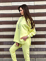 Женский спортивный костюм оверсайз свитшот худи брюки / спортивний жіночий костюм худі світшот штани жовтий