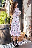 Женское платье с резинкой на талии ( роза с зелеными листиками,02), арт 199