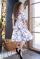 Летнее платье с резинкой на горловине ( розы на кремовом,05), арт 199