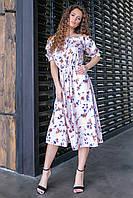 Платье с резинкой на талии, длина миди ( мелкий цветок на пудровом,09), арт 199