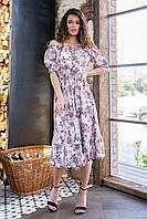 Сарафан-платье с резинкой на талии ( серые цветы на пудровом, 10), арт 199