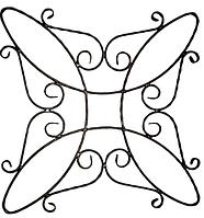 Розет кований 13.429(П). Матеріал: смуга 12х6 декор. Розміри: 800мм х 800мм.