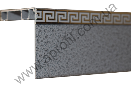 "Карниз для штор алюминиевый ""Модель 11"" с широким молдингом на две дорожки под евро крючок. Структура ""Антик"""