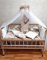 """Набор постельного белья в детскую кроватку/манеж """"Коса"""" - Бортики / Защита в кроватку- конверт-плед на выписку"""