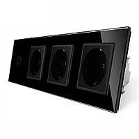 Сенсорный выключатель с тремя розетками Livolo черный стекло (VL-C701/C7C3EU-12), фото 1