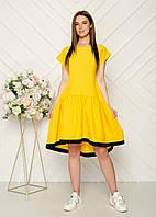 Легкое, свободного кроя универсальное платье с широкой юбкой, 2цвета, Р-р.42-46 Код 2020Б