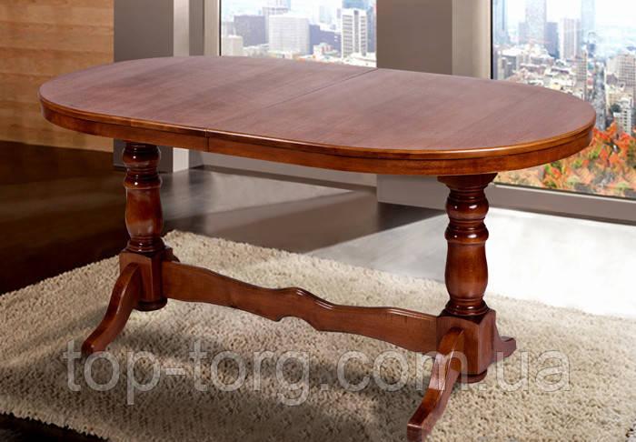 Стол овальный раскладной Отаман 140(+40)х80см орех