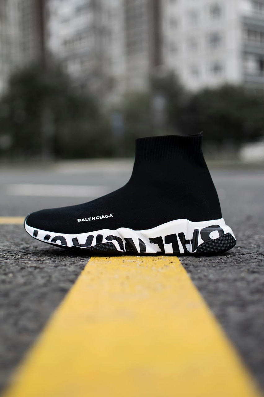 Женские кроссовки Balenciaga Speed Trainer Graffiti White, Реплика