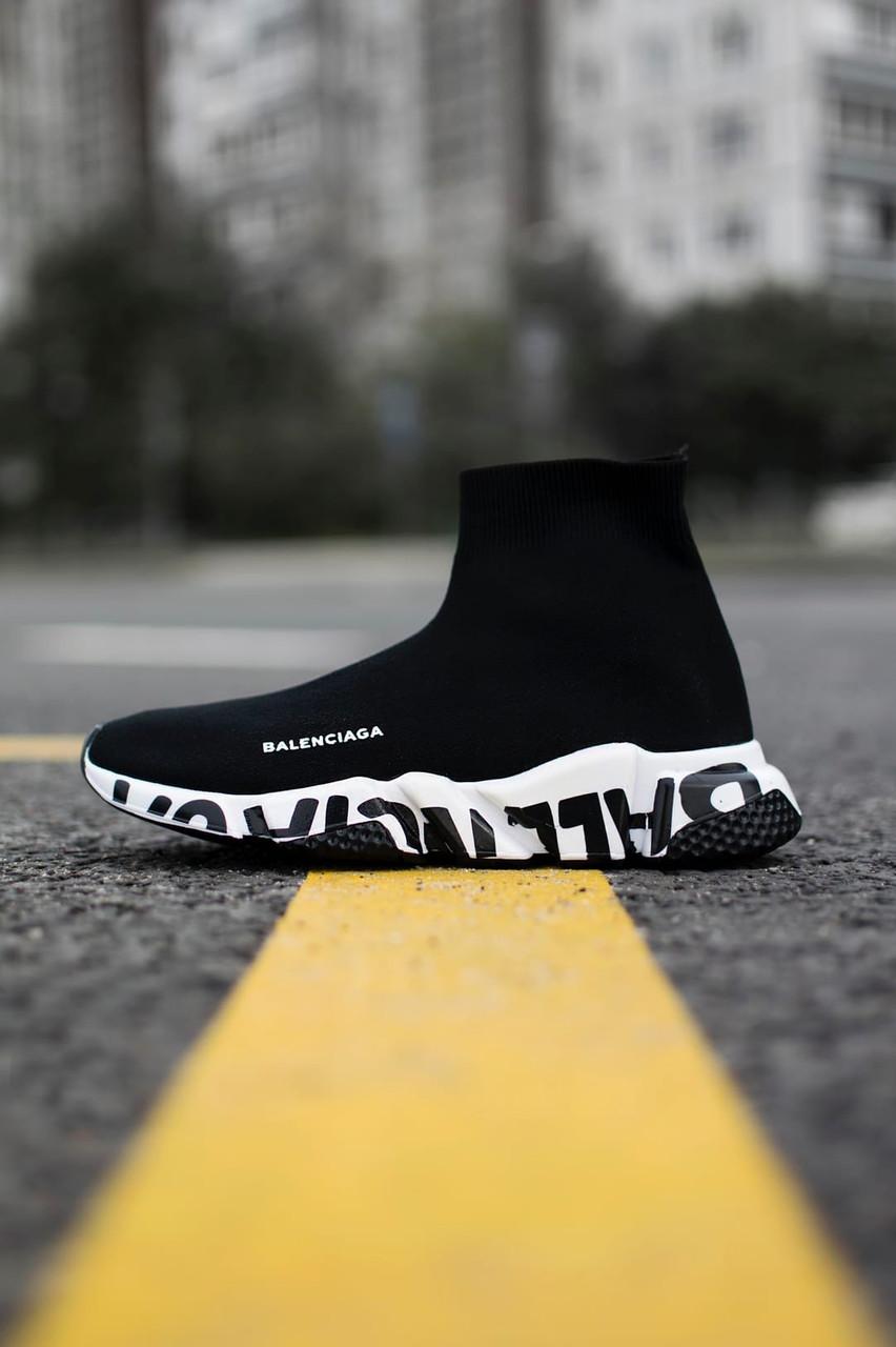 Жіночі кросівки Balenciaga Speed Trainer Graffiti White, Репліка