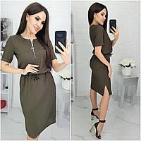 Шикарное летнее платье из натурального льна! ( хаки) N181