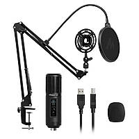 Микрофон Maono AU-PM422 USB профессиональный конденсаторный со стойкой, пауком и поп-фильтром - Черный