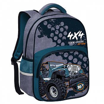 Школьный рюкзак для мальчика с ортопедической спинкой YES S-31  Off Road 13л 38x28x13см Серый (558158)