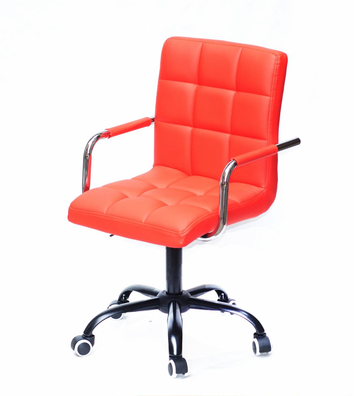 Розкішне червоне крісло AUGUSTO - ARM BK-OFFICE в еко-шкірі на коліщатках на чорному підставі