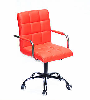 Розкішне червоне крісло AUGUSTO - ARM BK-OFFICE в еко-шкірі на коліщатках на чорному підставі, фото 2
