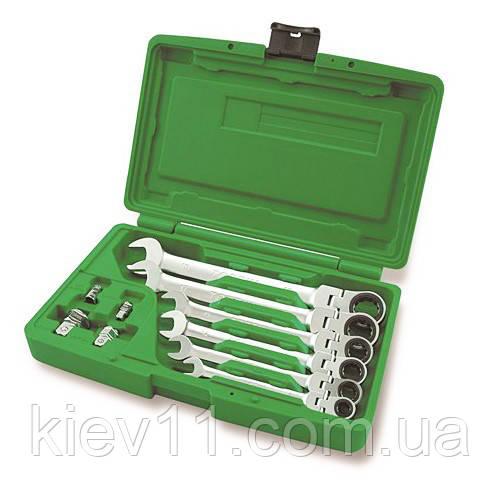 Набор ключей трещоточных комбинированных с шарниром TOPTUL 8-19мм + переходники GAAI1003