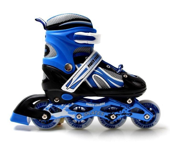 Детские ролики с регулировкой размера Роликовые коньки раздвижные размер 34-37 Power Champs Черный с синим