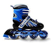 Детские ролики с регулировкой размера Роликовые коньки раздвижные размер 34-37 Power Champs Черный с синим, фото 1