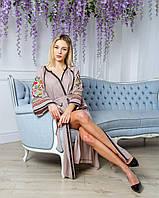 Длинное нарядное льняное женское платье с красивой вышивкой