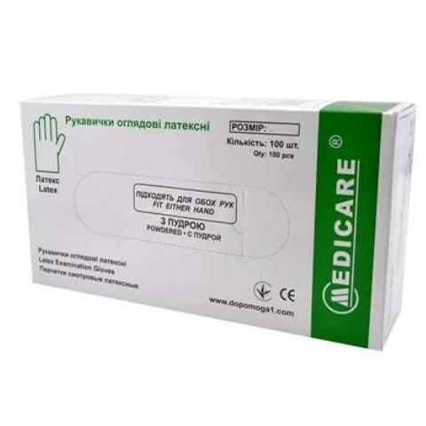 Перчатки Medicare латексные смотровые нестерильные припудренные р.XS