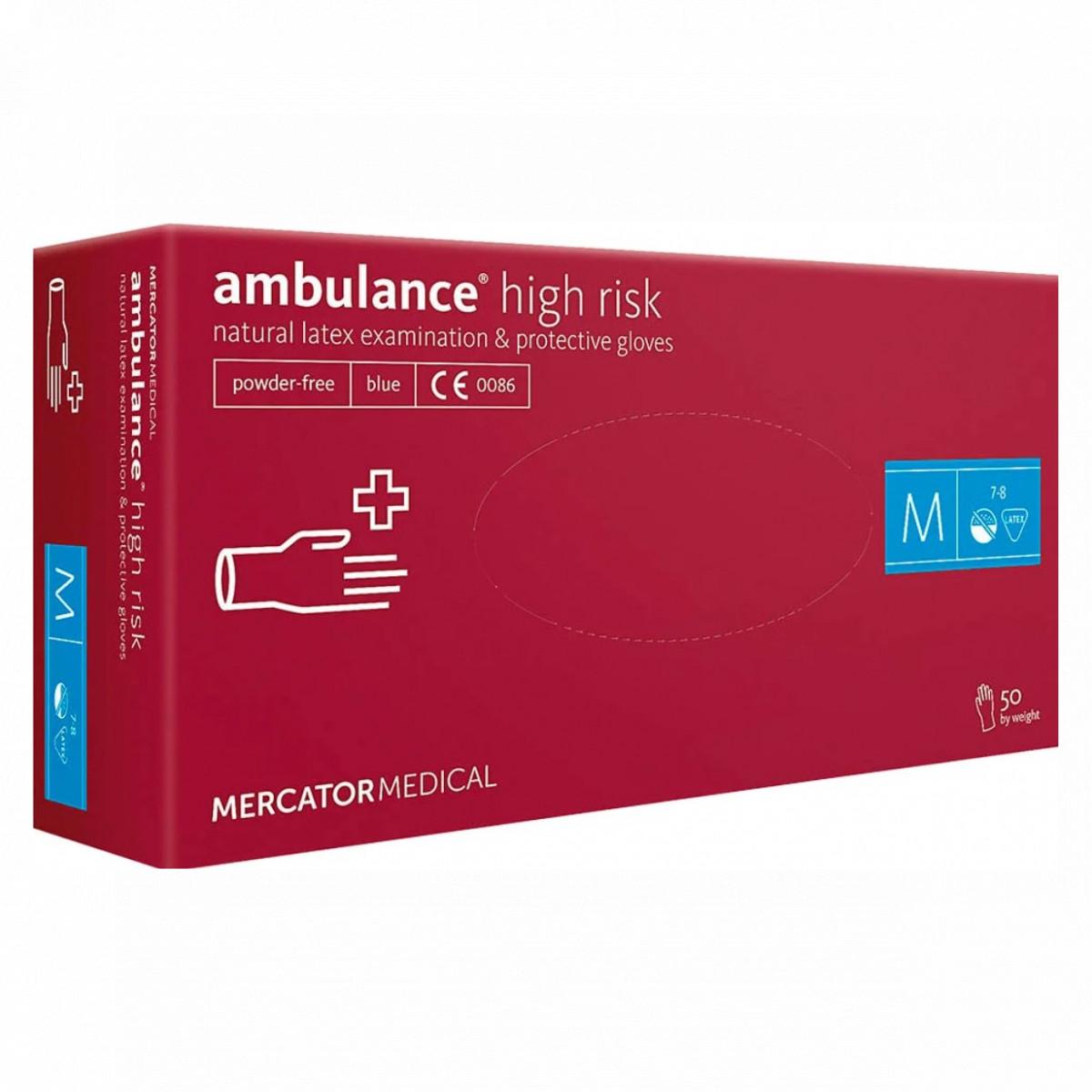 Перчатки Ambulance High Risk латексные смотровые нестерильные неприпудренные р.М