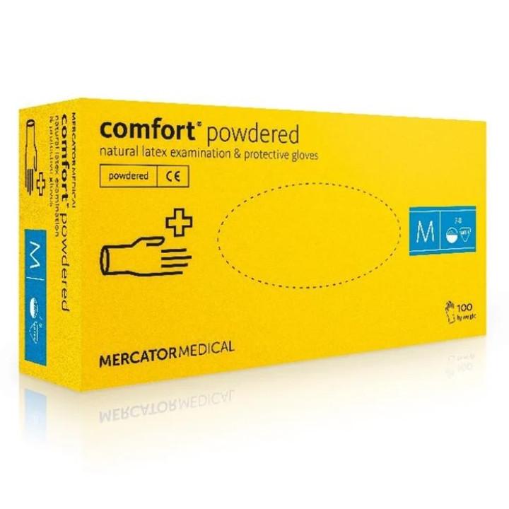 Перчатки Comfort Powdered латексные смотровые нестерильные припудренные р.S