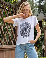 Женская летняя стильная легкая футболка с наклейкой белая 42-44 44-46 хлопок