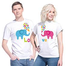 """Парные футболки для влюбленной пары """"Слоники Love"""""""