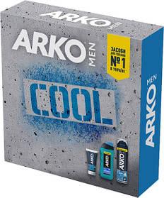 Подарочный набор ARKO Men Пена для бритья Cool 200 мл + Крем после бритья Cool 50 мл + Гель для душа Cool 250