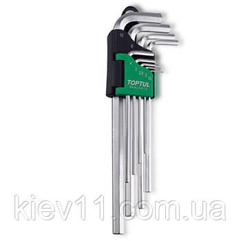 Ключи шестигранные удлиненные TOPTUL 1,5-10мм 9ед. GAAL0911