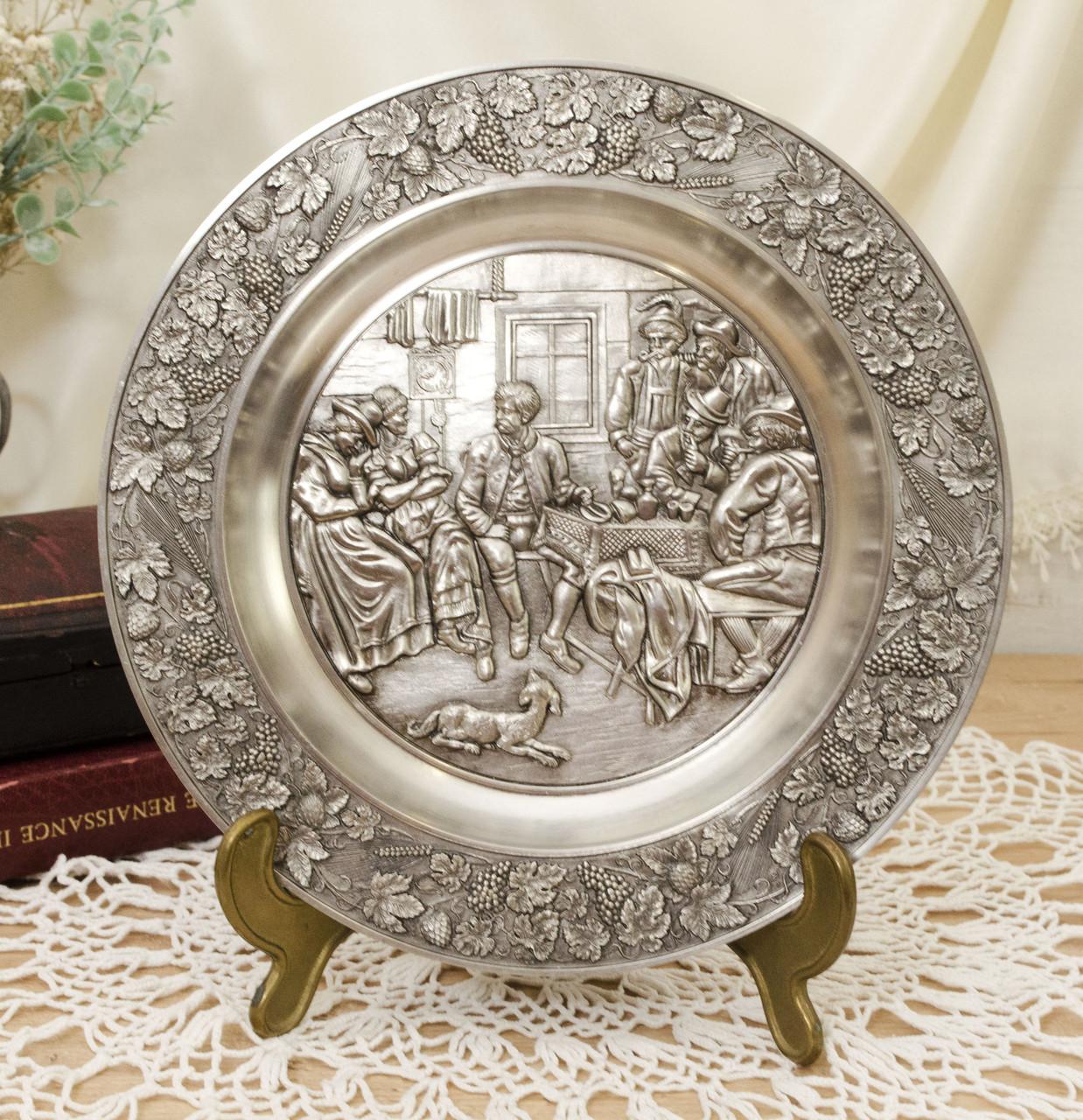 Оловянная коллекционная настенная тарелочка, олово, Германия, Шедевры живописи
