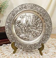 Оловянная коллекционная настенная тарелочка, олово, Германия, Шедевры живописи, фото 1