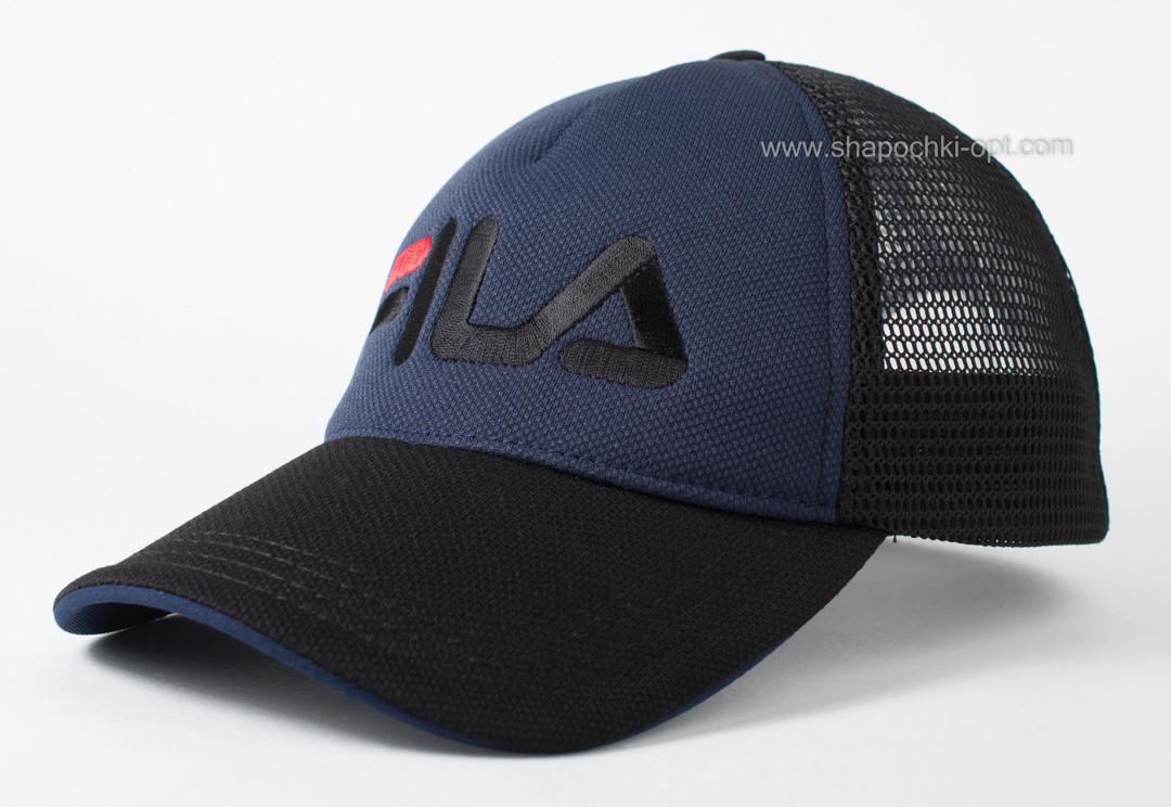 Спортивная летняя бейсболка пятиклинка черно-синяя (лакоста+сетка)