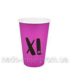 """Стакан паперовий """"XL"""" Рожевий 340мл. 50шт/уп (FiB 80/КВ79/""""РОМБ"""" 79)"""