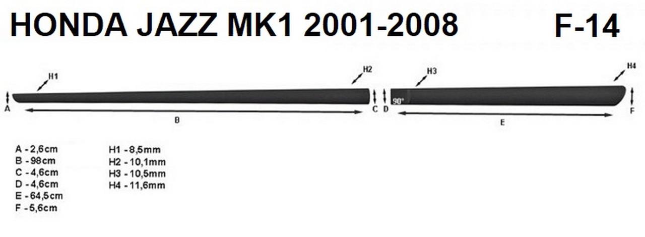 Молдинги на двері для Honda Jazz / Fit (GD) Mk1 2001-2008, фото 6