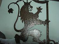 Флюгер стальной для кровли лев с флагом