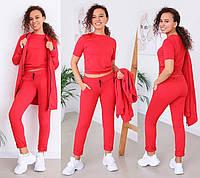 Женский спортивный костюм тройка с кардиганом на каждый день, норма и большие размеры красный