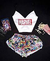 Шёлковая пижама для девушки Marvel комплект шорты + топ