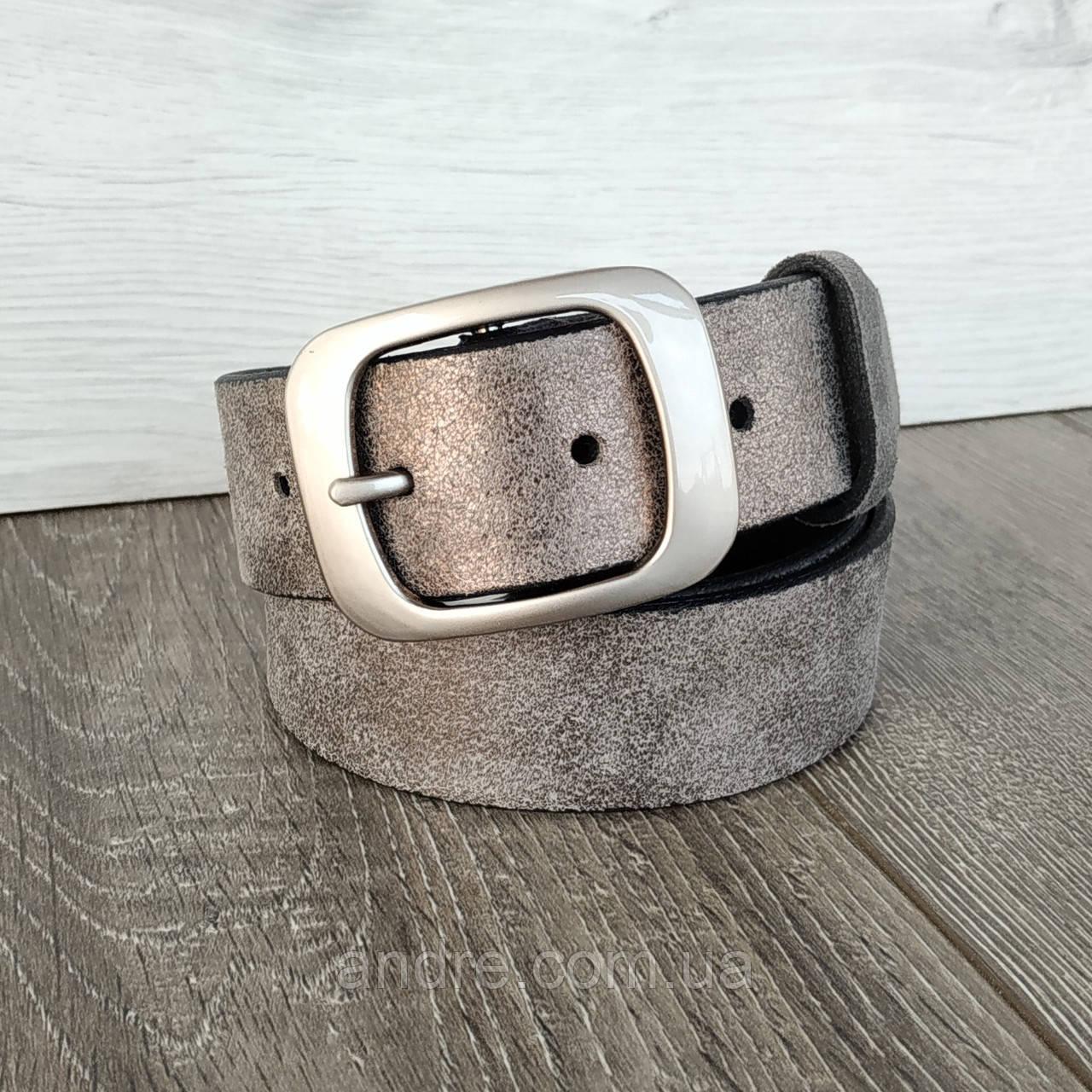 Ремень женский серебристый кожаный 3.5 см