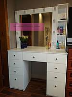 Стол для визажиста, гримерный столик, зеркало с подсветкой, белый 1