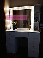 Стол для визажиста, гримерный столик, зеркало с подсветкой, белый 2