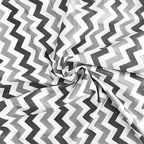 """Польская хлопковая ткань """"Зигзаг серый, темно-серый на белом"""", фото 2"""
