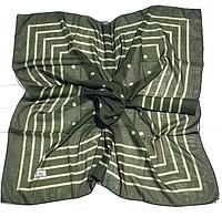 Легкий платок Полина, батист, 95*95 см, темный оливковый, фото 1