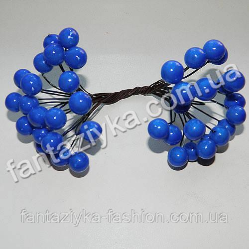 Калина крупная 10мм лаковая синяя, в пучке 40 ягод