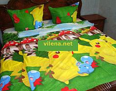 Детское полуторное постельное белье Покемон Пикачу
