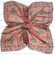 Легкий платок Букет, батист, 95*95 см, персиковый