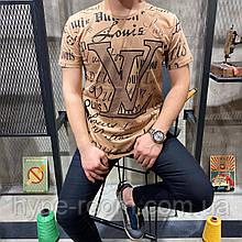 Мужская футболка в стиле Louis Vuitton коричневая(размер S)