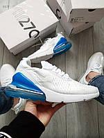 Мужские кроссовки Nike Air Max 270 Flyknit White/ Blue