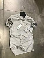 Мужская футболка в стиле Lacoste серая