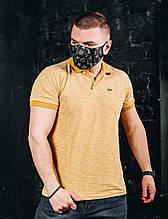 Мужская футболка в стиле Lacoste желтая(размер S,M)